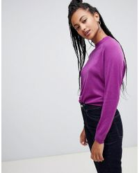 Mango - Ribbed Crew Neck Fine Gauge Jumper In Purple - Lyst