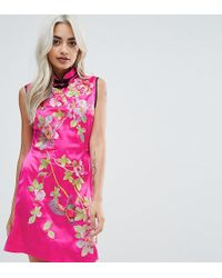 ASOS - Oriental Satin Mini Dress - Lyst