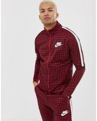 Nike - Chaqueta de chndal a cuadros vichy en rojo BQ0675-618 de - Lyst