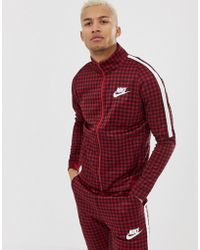 Nike - Gingham Check Track Jacket In Red Bq0675-618 - Lyst