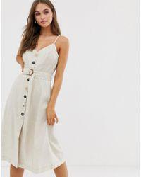 2ae31e3f245 Lyst - Moon River Button Down Self-tie Belt Printed Midi Skirt in White