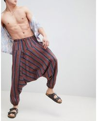 ASOS - Design Festival Extreme Drop Crotch Joggers In Stripe - Lyst
