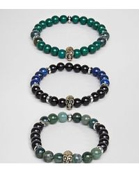 Reclaimed (vintage) - Inspired Skull Bracelet With Semi Precious Beads In 3 Pack Exclusive To Asos - Lyst