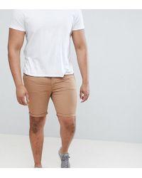 River Island - Big & Tall Skinny Chino Shorts In Tan - Lyst
