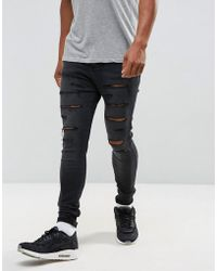 SIKSILK - Drop Crotch Skinny Jeans With Distressing - Lyst