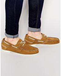 Tommy Hilfiger - Suede Boat Shoes - Beige - Lyst