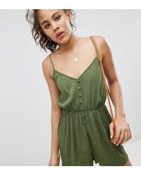 ASOS - Asos Design Tall Romper In Crinkle With Button Front - Lyst