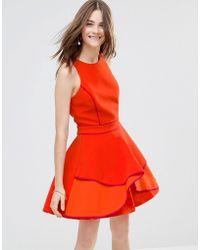 Adelyn Rae - Tiered Panel Skater Dress - Orange - Lyst