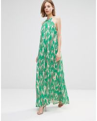 Adelyn Rae - Crackle Print Halter Maxi Dress - Green - Lyst