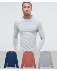 ASOS - Extreme Muscle Fit Long Sleeve T-shirt 3 Pack Save - Lyst