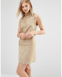 Shades of Grey by Micah Cohen - Hades Of Grey Faux Suede Drop Waist Mini Dress - Lyst