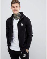 SIKSILK - Zip Through Hoodie In Black - Lyst
