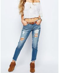Hollister - Ankle Grazer Jeans With All Over Distressing - Lyst