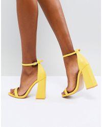 Public Desire - Tess Yellow Block Heeled Sandals - Lyst