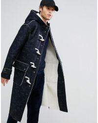 ASOS - Faux Shearling Duffle Coat In Camo Print - Lyst