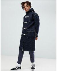 ASOS - Asos Faux Shearling Duffle Coat In Camo Print - Lyst