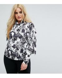 ASOS - Top With Clean Cold Shoulder In Mono Print - Lyst