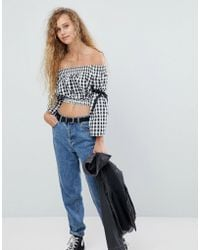 Love - Shearing Crop Top With Tie Sleeves - Lyst