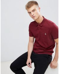 Original Penguin - Chunky Rib Mouline Polo Slim Fit Embroidered Logo In Burgundy Marl - Lyst