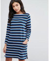 YMC - Breton Stripe Long Sleeved Jersey Dress - Lyst
