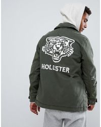 Hollister - Twill Military Overshirt Jacket Back Logo Print In Olive Green - Lyst