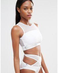 Quontum - Metallic Silver Mesh Crop Bikini Top - Lyst