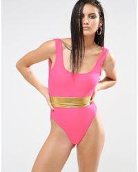 Quontum - Gold Waistband High Leg Swimsuit - Lyst