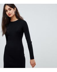 1128249a53f6 Bershka Ribbed Knitted Dress in Red - Lyst