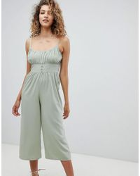 ASOS - Design Jumpsuit With Tie Cami Straps And Pleat Detail - Lyst