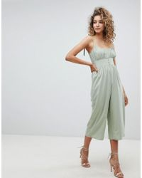 ASOS - Jumpsuit With Tie Cami Straps And Pleat Detail - Lyst