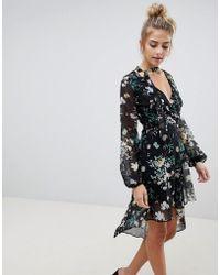 de40dd07eef41 Lyst - Lavish Alice Wrap Lace Up Floaty Midi Dress in Black