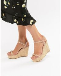Missguided - Studded Strap Wedge Sandal - Lyst