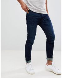 Abercrombie & Fitch - Skinny Fit Jeans In Dark Wash - Lyst