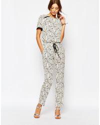Suncoo - Tie Waist Pants In Print - Lyst