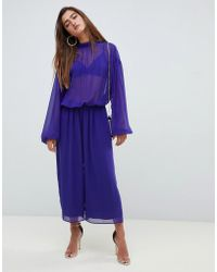 eed86146d3 ASOS - Jumpsuit With Balloon Sleeve And Tie Back Detail In Chiffon - Lyst