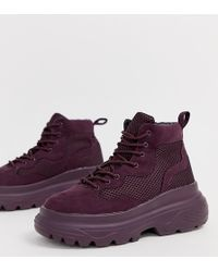 Missguided - Hiker Trainer With Chunky Sole In Purple - Lyst