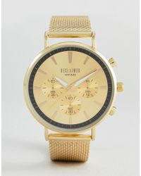 Reclaimed (vintage) - Inspired Chronograph Mesh Watch In Gold - Lyst