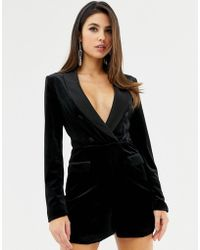 f50e26c2d8f Lavish Alice - Velvet Tuxedo Playsuit With Contrast Satin Lapel In Black -  Lyst