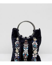 Accessorize - Izabella Embellished Ring Handle Velvet Pouch - Lyst
