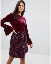 Anna Sui - Crushed Velvet Dress With Jaqcuard Floral Skirt - Lyst