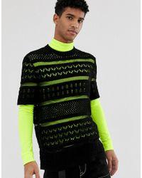 ASOS - Textured Crochet Knit Sweater In Black - Lyst