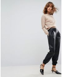ASOS - Asos Low Rise Track Pant In Soft Leather Look - Lyst