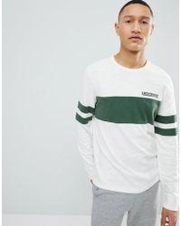 Abercrombie & Fitch - Varsity Chest Stripe Lightweight Sweatshirt In White - Lyst