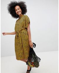 Monki - Midi Leodot Shirt Dress In Brown And Black - Lyst