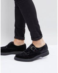ASOS - Monk Shoes In Black Velvet - Lyst