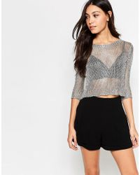 Girls On Film - Metallic Cropped Top - Silver - Lyst