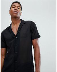 ASOS DESIGN - Sheer Deep Revere Regular Fit Shirt In Black - Lyst