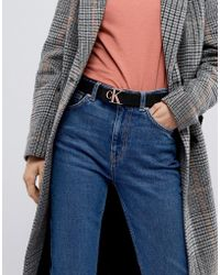 Calvin Klein - Belt With Rose Gold Logo - Lyst
