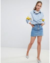8a61a002ef Miss Selfridge - Denim Skirt With Button Down Front - Lyst