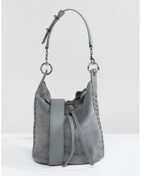 AllSaints - Suede Whipstitch Bucket Bag - Lyst